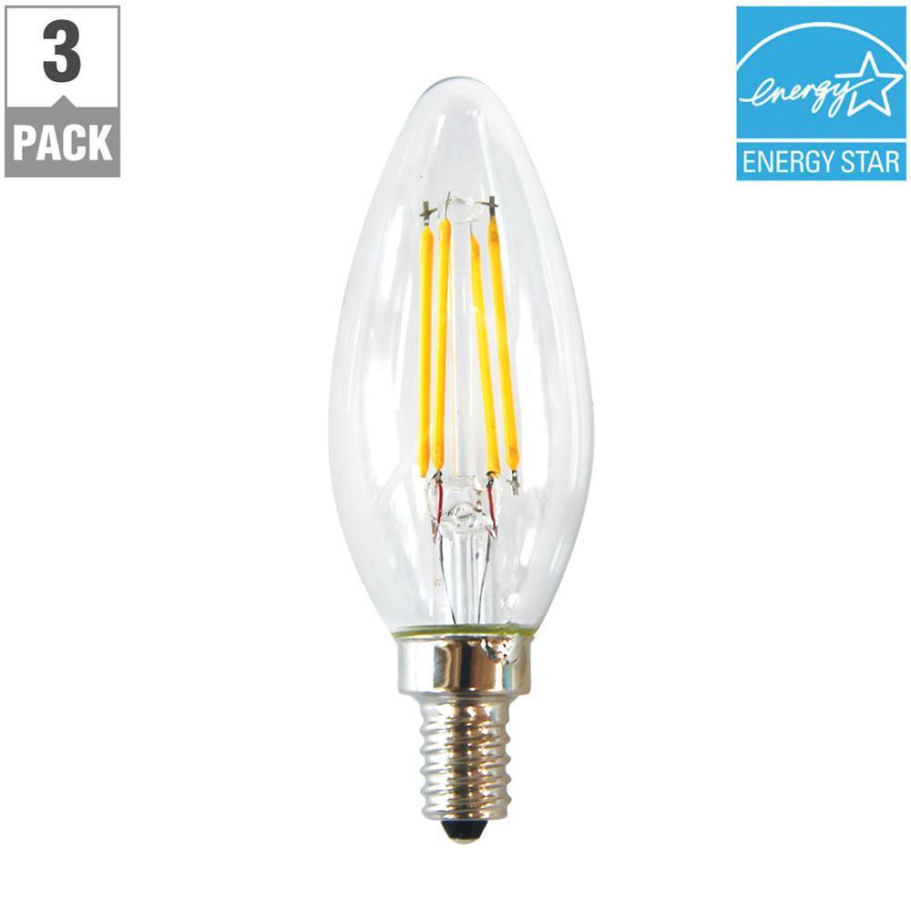 40-Watt Equivalent B11 E12 Base Dimmable Clear Filament LED Light Bulb, Soft White (3-Pack)