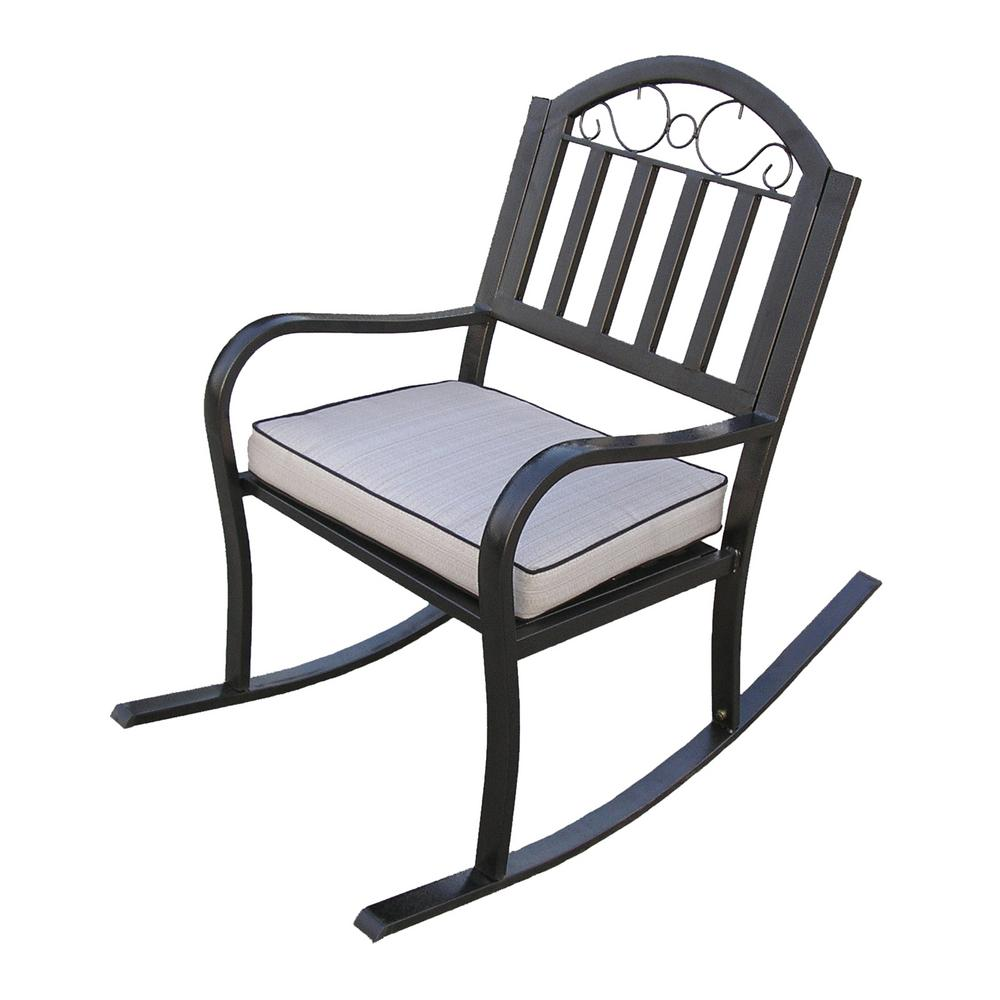 Rochester Metal Outdoor Rocking Chair with Beige Cushion