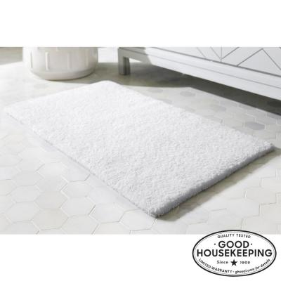 White 21 in. x 34 in. Cotton Reversible Bath Rug