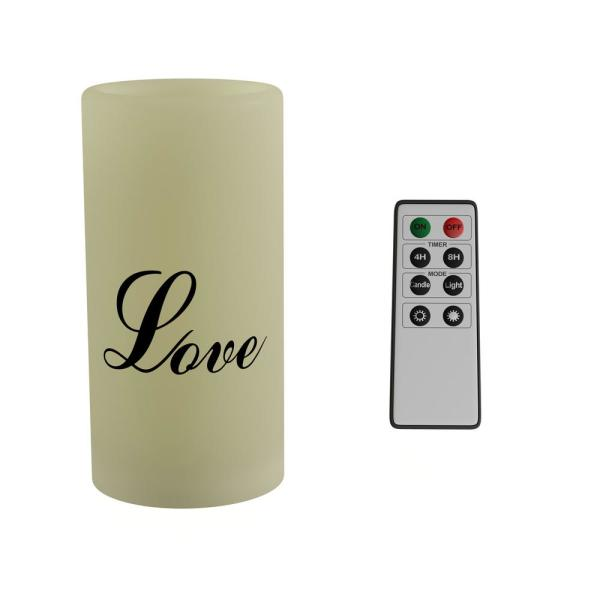 ''Love'' LED Flameless Candle with Remote Control