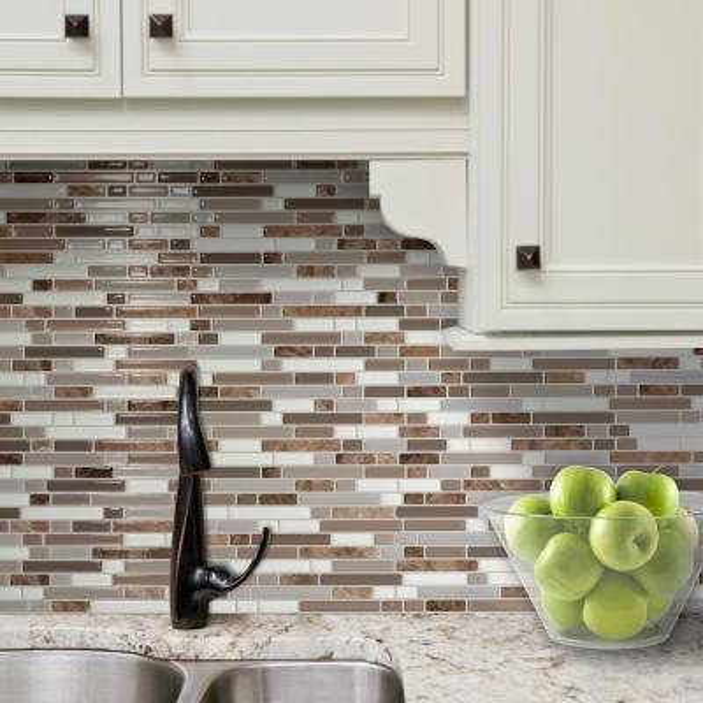 Bellagio Santi 10.06 in W x 10 in H Brown Peel and Stick Self-Adhesive Mosaic Wall Tile Backsplash (4-Pack)