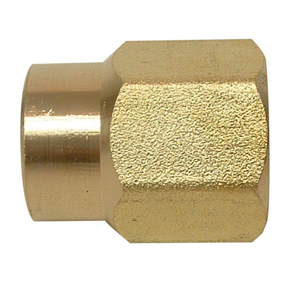 Everbilt Lead-Free Brass Pipe Coupling 1/2 in. FIP x 1/4 in. FIP
