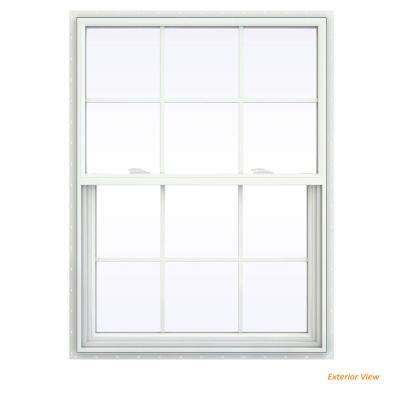 35.5 in. x 53.5 in. V-2500 Series White Vinyl Single Hung Window with Colonial Grids/Grilles