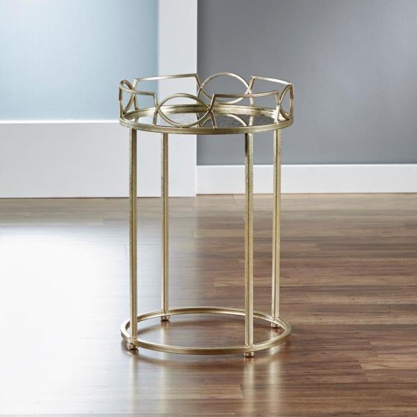 FirsTime 22.5 in. Satin Gold Lattice Edge Side Table BTACK7