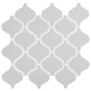 Retro Gray Arabesque 13.19 in. x 11.22 in. x 6mm Glossy Porcelain Mesh-Mounted Mosaic Tile (10.95 sq. ft. / case)