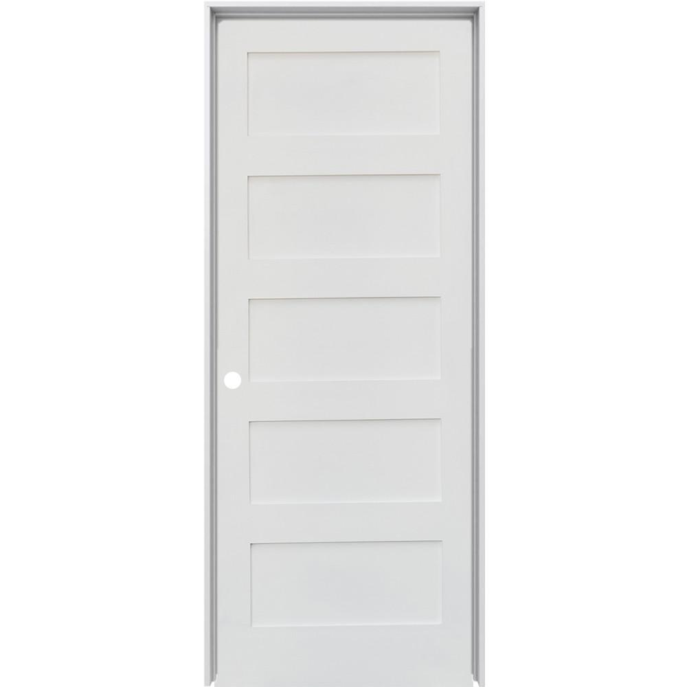 Krosswood Doors 28 In X 80 In Shaker 5 Panel Primed Solid Hybrid Core Mdf Right Hand Single