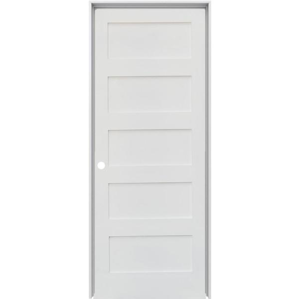 30 in. x 80 in. Shaker 5-Panel Primed Solid Hybrid Core MDF Right-Hand Single Prehung Interior Door