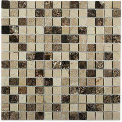 Woodland Blend Brick Joint 12 in. x 12 in. Polished Marble Mosaic Tile