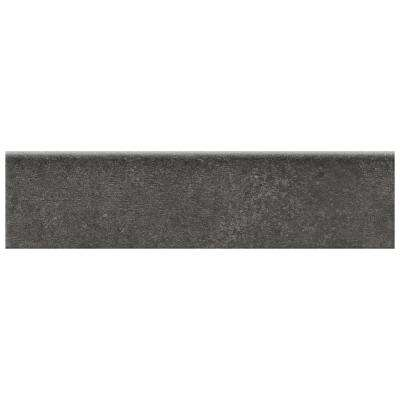 Eclectic Vintage Charcoal Concrete 3 in. x 12 in. Porcelain Bullnose Floor and Wall Tile