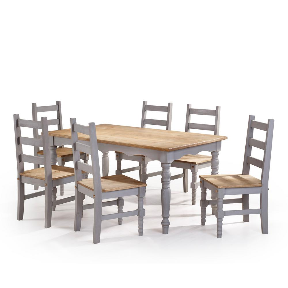 manhattan comfort jay 7 piece gray wash solid wood dining set with 6 chairs and 1 table csj305. Black Bedroom Furniture Sets. Home Design Ideas