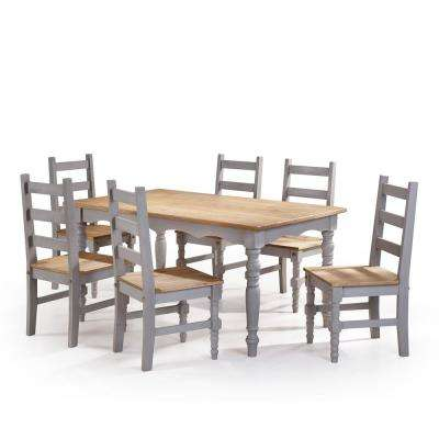 Jay 7 Piece Gray Wash Solid Wood Dining Set With 6 Chairs And 1