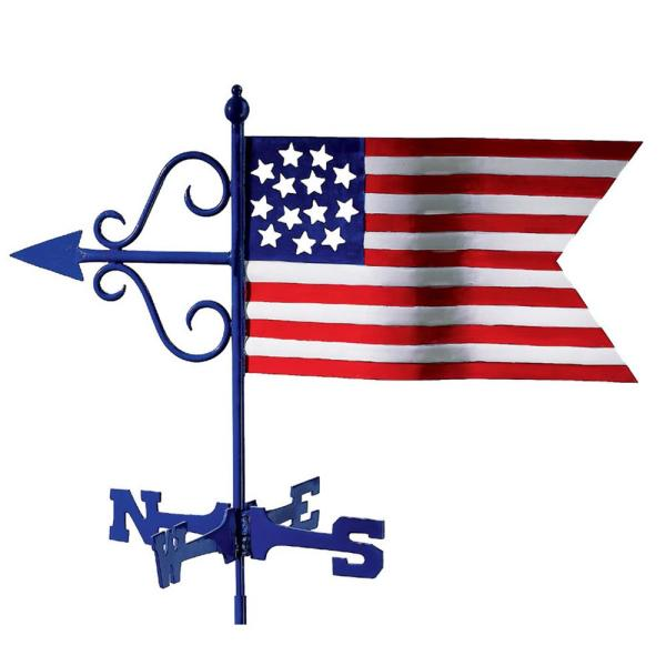 Americana Flag Cottage Weathervane with Roof Mount