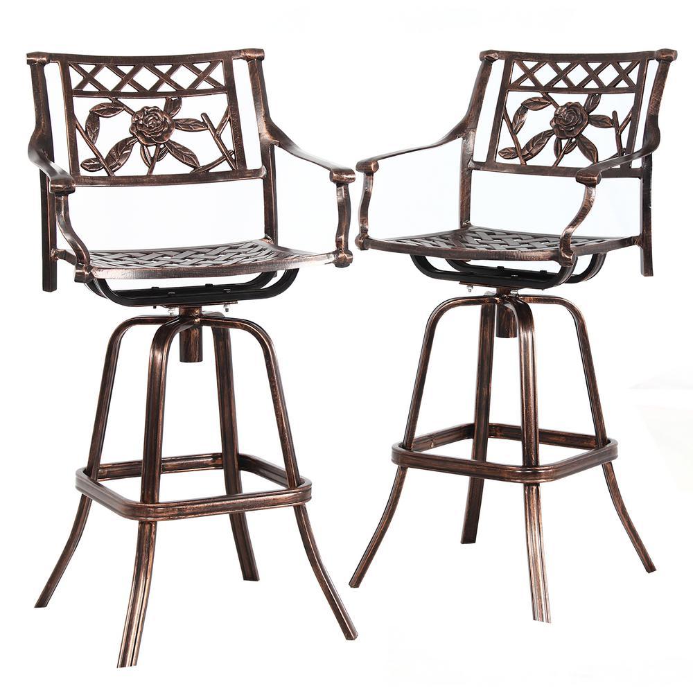 Wondrous Rose Swivel Aluminum Outdoor Bar Stool 2 Pack Squirreltailoven Fun Painted Chair Ideas Images Squirreltailovenorg