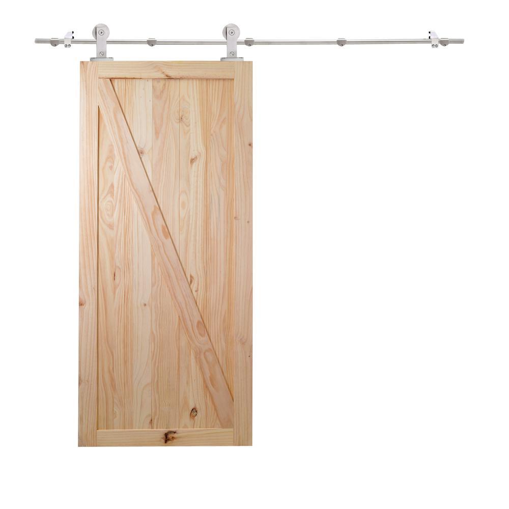 Bon Z Bar Unfinished Natural Wood Sliding Barn Door