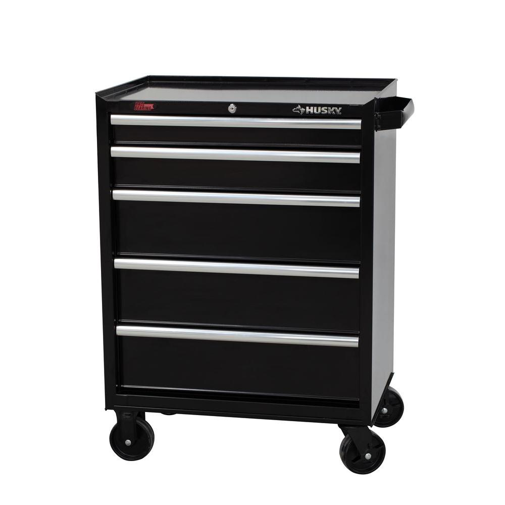 Husky 27 in. 5-Drawer Rolling Tool Cabinet, Black