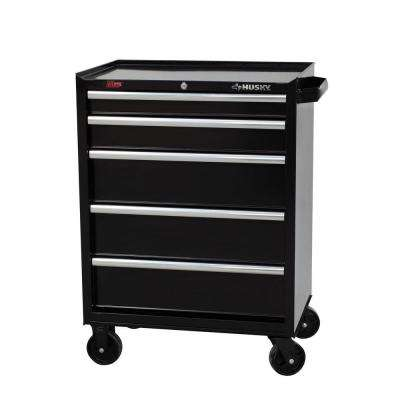 27 in. 5-Drawer Rolling Tool Cabinet, Black