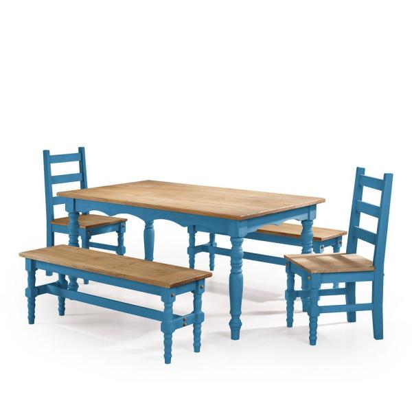 Jay 5 Piece Blue Wash Solid Wood Dining Set With 2 Benches Chairs And 1 Table