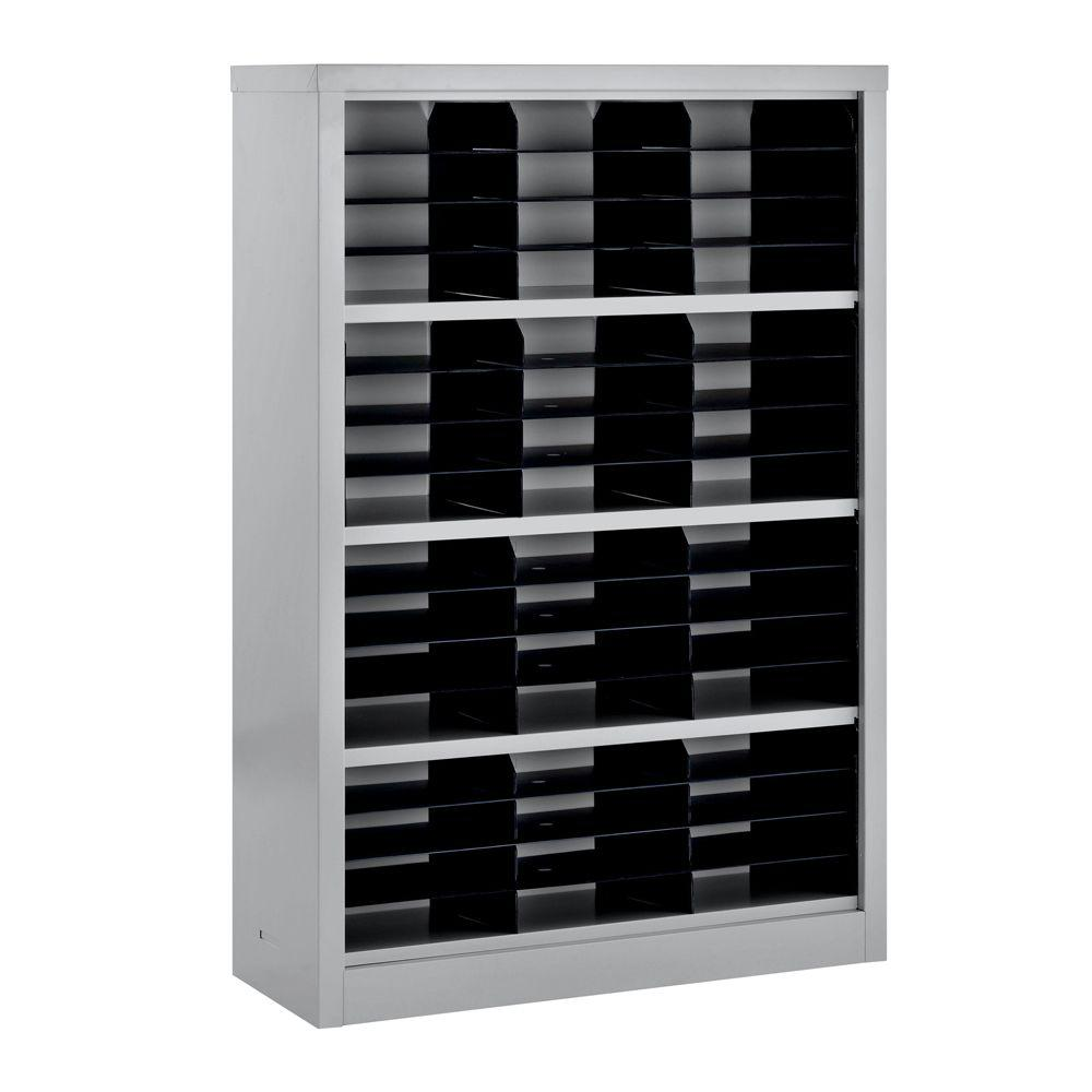 Sandusky 52 in. H x 34.5 in. W x 13 in. D Steel Commercial Literature Organizer Shelving Unit in Gray
