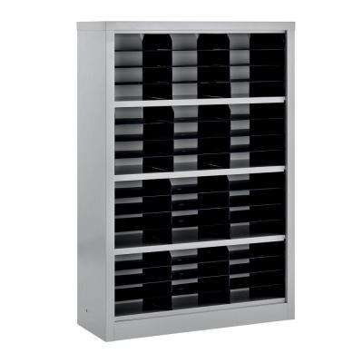 52 in. H x 34.5 in. W x 13 in. D Steel Commercial Literature Organizer Shelving Unit in Gray