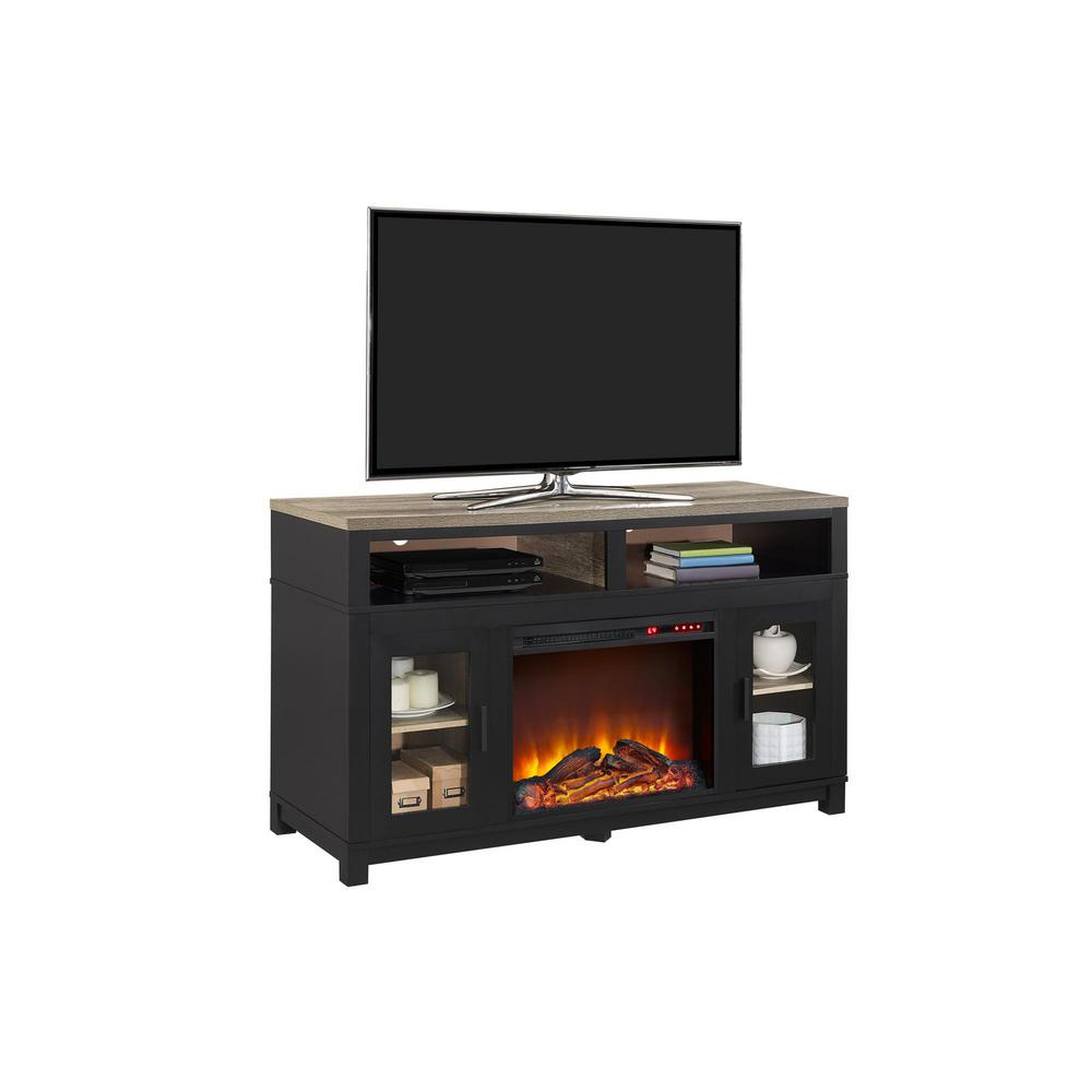 Ameriwood Carver Black Electric Fireplace 60 in TV Stand