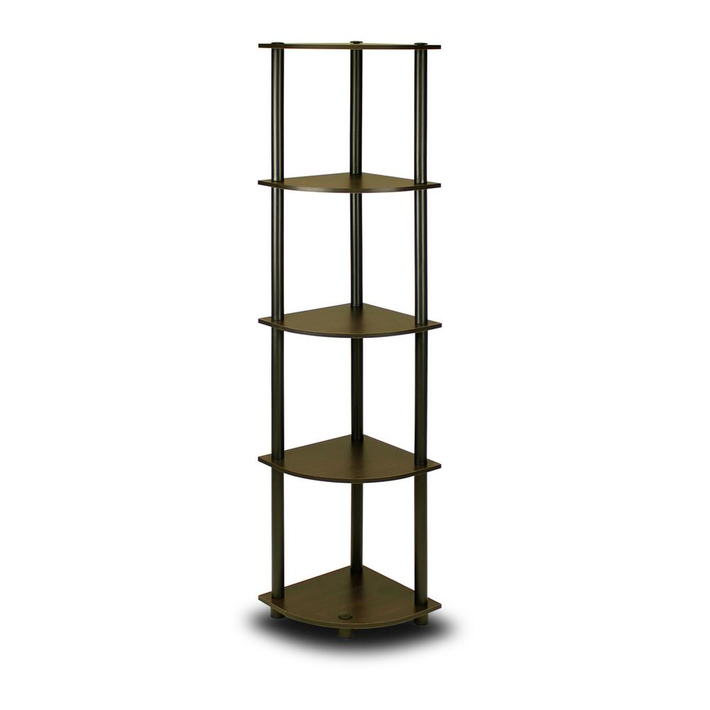 Furinno Turn N Tube Espresso Black 5 Shelf Corner Open