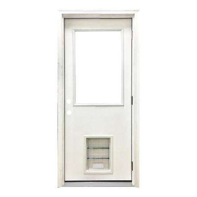 36 in. x 80 in. Classic Clear Half Lite LHOS White Primed Fiberglass Prehung Front Door with XL Pet Door