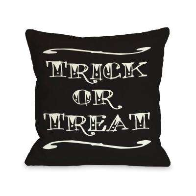 Trick or Treat Tattoo Letters 16 in. x 16 in. Decorative Pillow