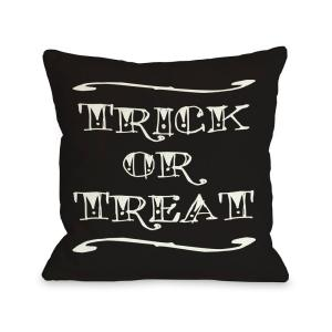 Trick Or Treat Black Graphic Polyester 16 in. x 16 in. Throw Pillow