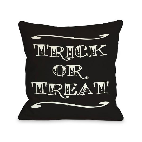 undefined Trick or Treat Tattoo Letters 16 in. x 16 in. Decorative Pillow