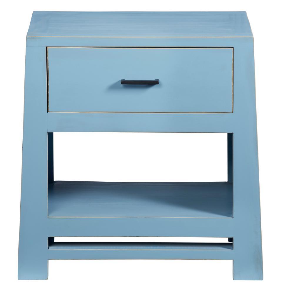 Carolina 1-Drawer Cornflower Blue Nightstand