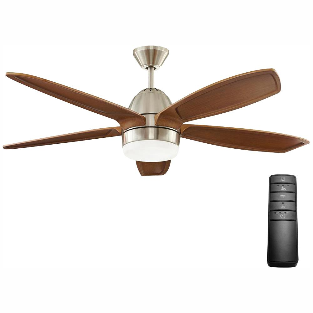 Home Decorators Collection Campo Sano 54 in. Integrated LED Indoor Brushed Nickel Ceiling Fan with Light Kit and Remote Control