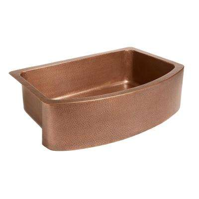 Ernst Farmhouse Apron Front Handmade Copper 33 in. Single Bowl Kitchen Sink in Antique Copper