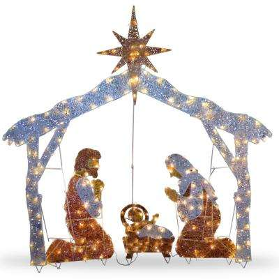 55 in. Crystal Splendor Nativity Set with 150 Mini Clear Lights
