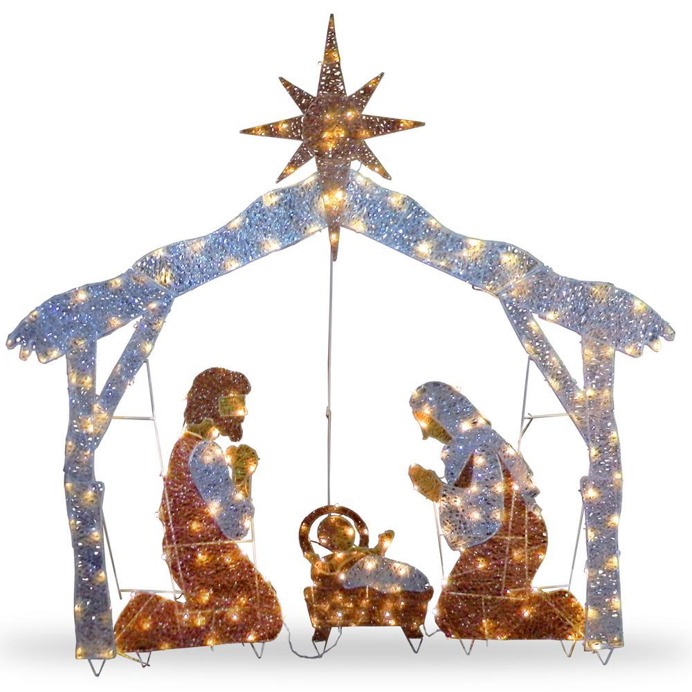 55 in. Crystal Splendor Nativity Set with 150 Mini Clear Lights