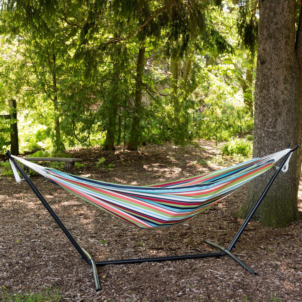 Vivere 9 ft. Combo Sunbrella Hammock with Steel Stand in ...