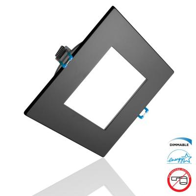 DLE Series 4 in. Square 5000K Black Integrated LED Recessed Canless Downlight with Trim