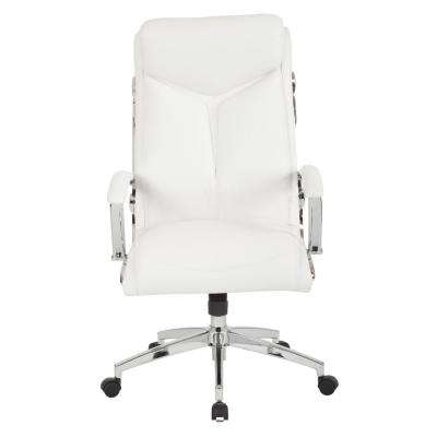 Executive White Faux Leather High Back Chair with Padded Arms and Chrome Base