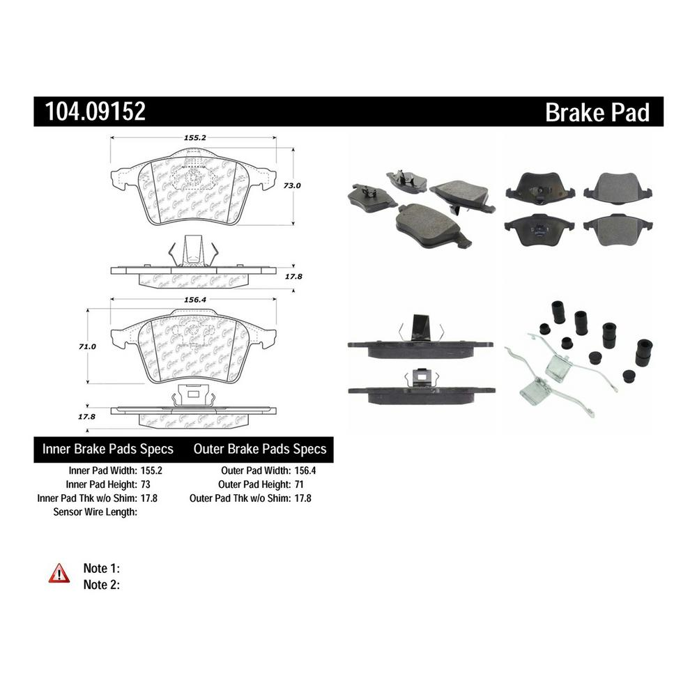 FRONT SET Centric Parts Ceramic Disc Brake Pads 301.16970