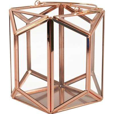 Mika 6.25 in. W x 6 in. H Rose Gold Faceted Glass Prism Lantern Terrarium