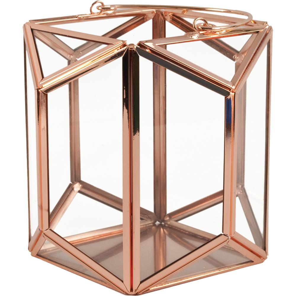 Mika 6.25 in. W x 6 in. H Rose Gold Faceted Glass Prism Lantern Terrarium