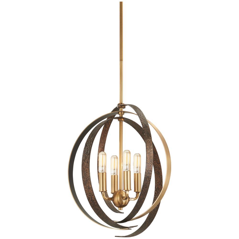Criterium 6-Light Aged Brass with Textured Iron Pendant