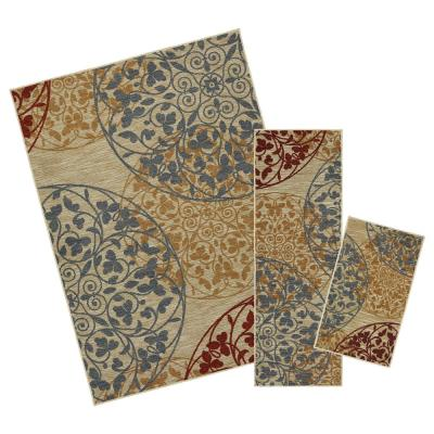 Medallones Garden Multi 5 ft. x 7 ft. 3-Piece Rug Set