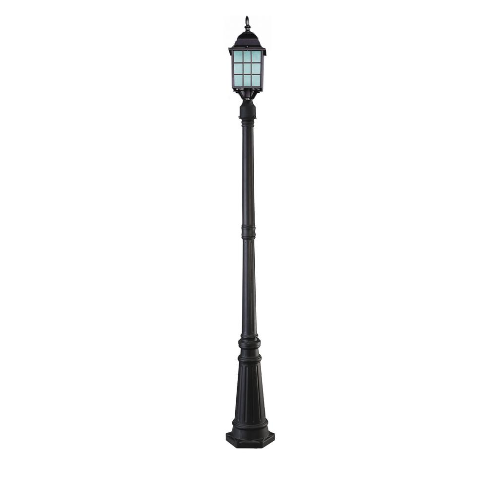 Colton 1-Light Outdoor Oil Rubbed Bronze Post Light with Frosted Glass