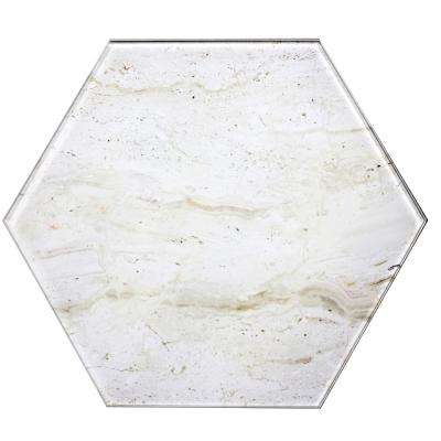 Nature 8 in. x 8 in. Crema Marfil Glass Hexagon Decorative Wall Tile Backsplash