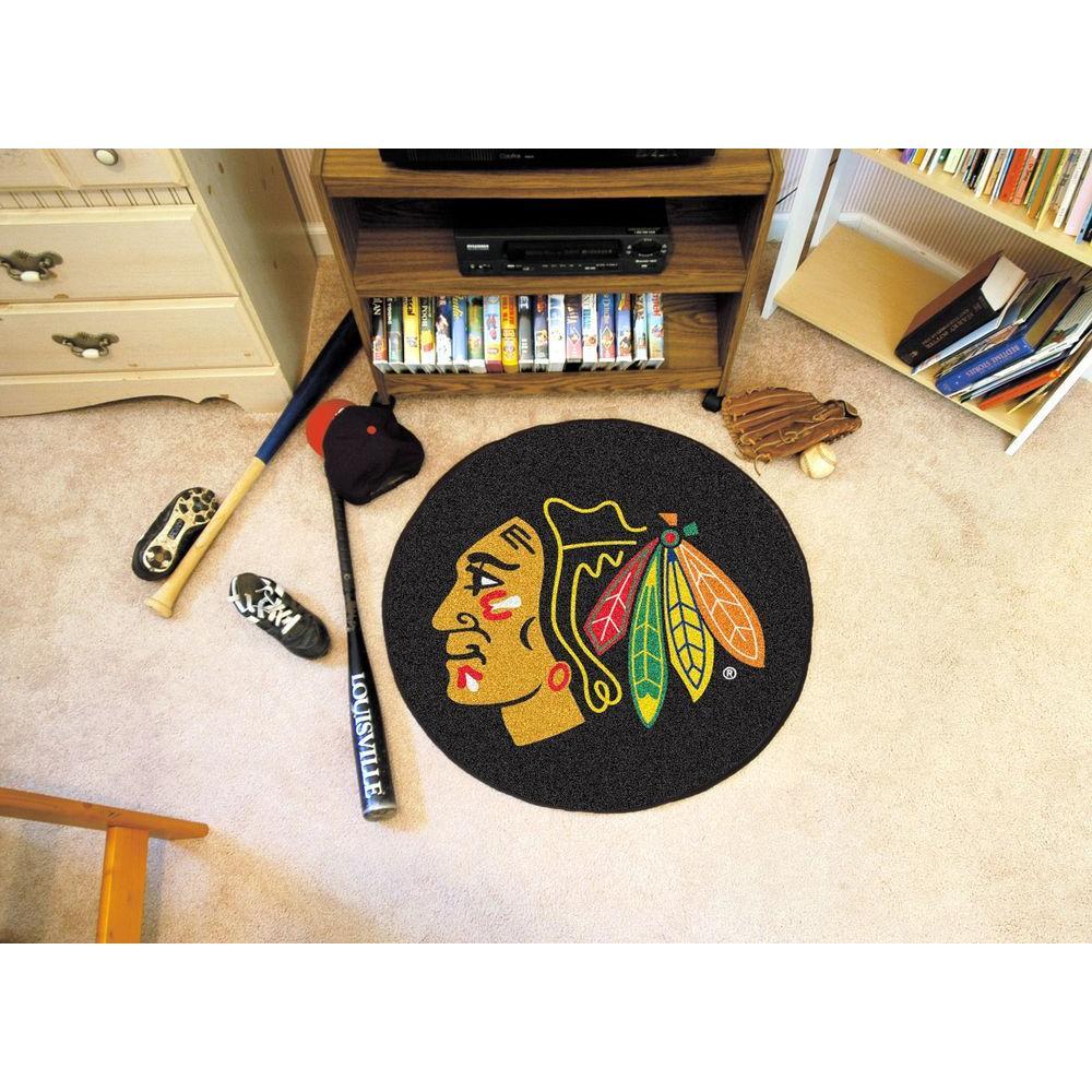 Chicago Blackhawks Black 27 in. Round Hockey Puck Mat