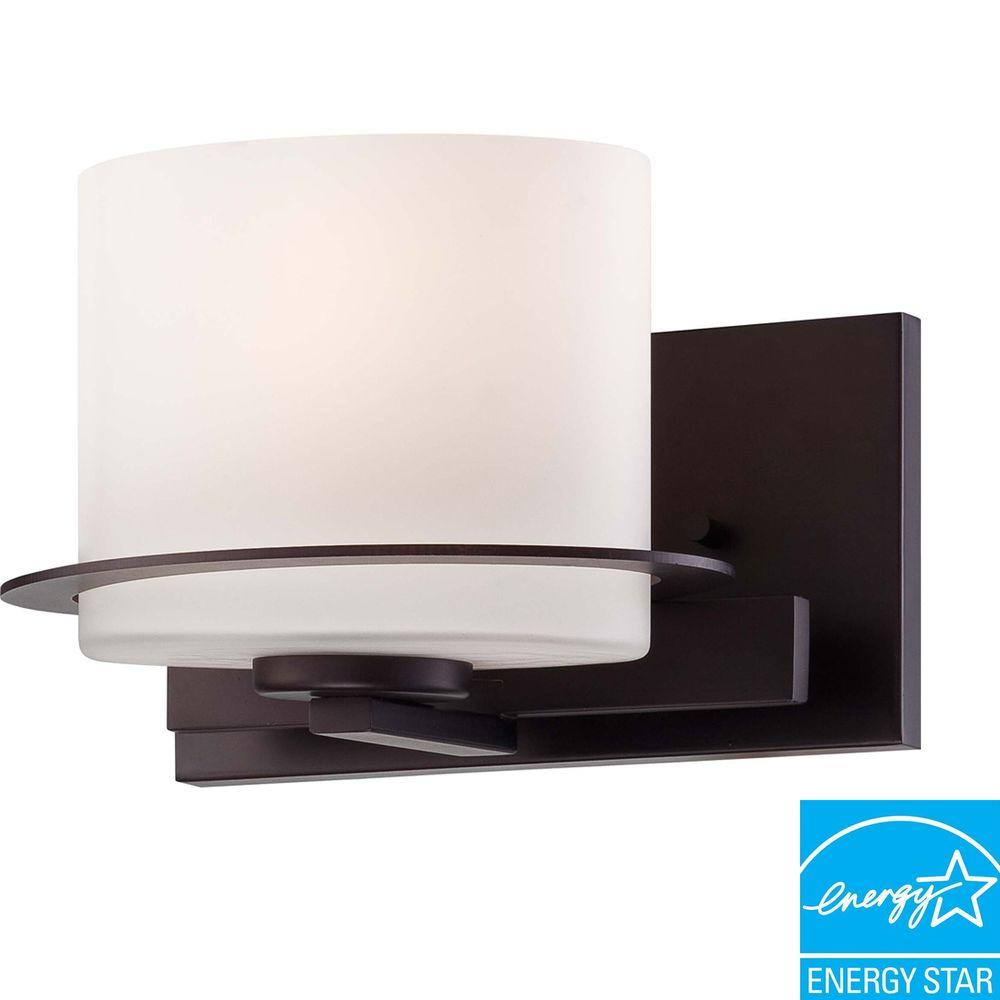 1-Light Venetian Bronze Vanity Fixture with Oval Frosted Glass Shade