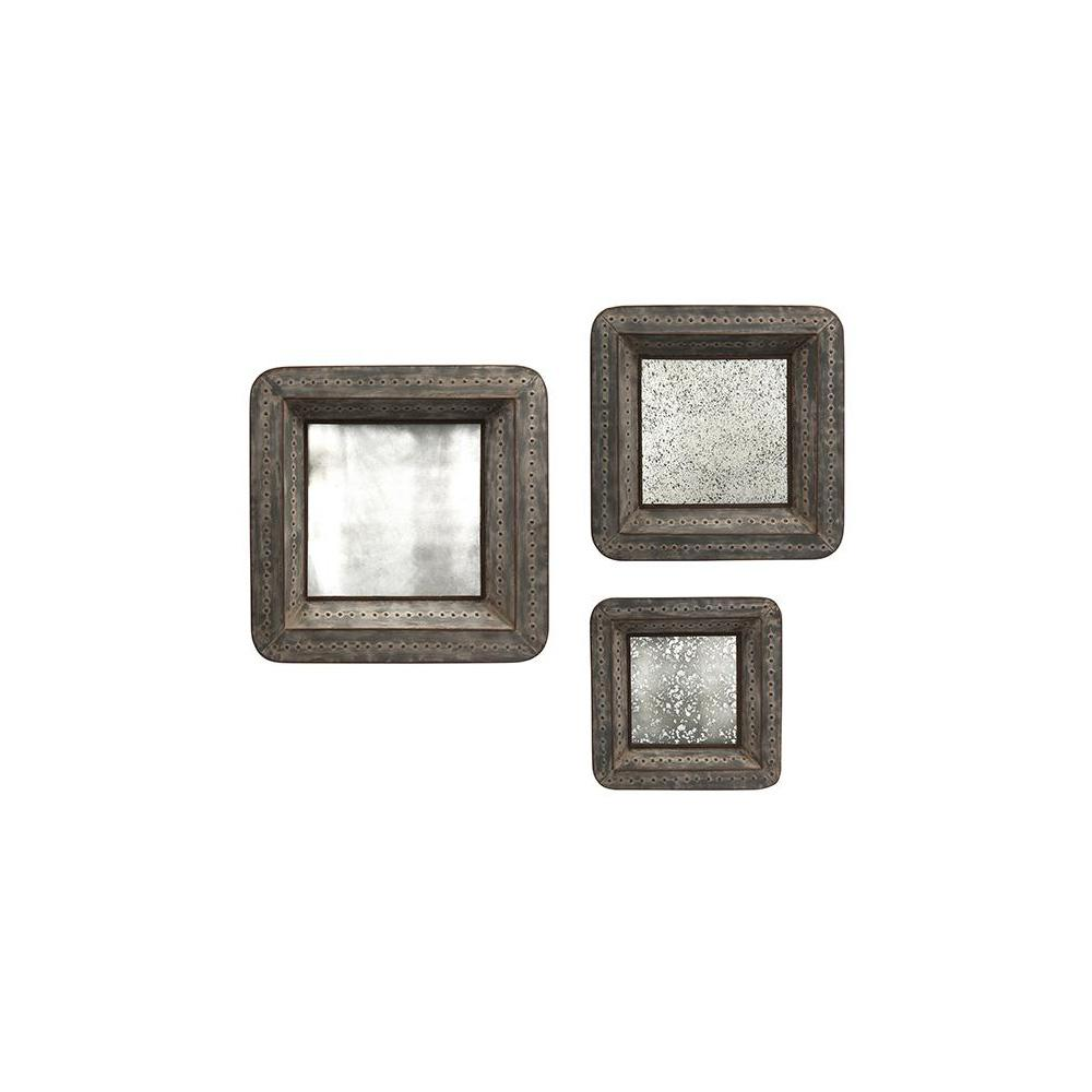 Home decorators collection jezant brown mirror trays set of 3 9353600270 the home depot Home decorators collection mirrors