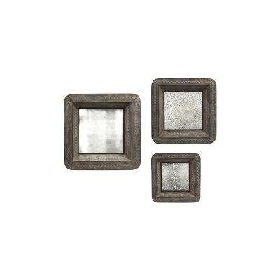 Jezant Brown Mirror Trays (Set of 3)