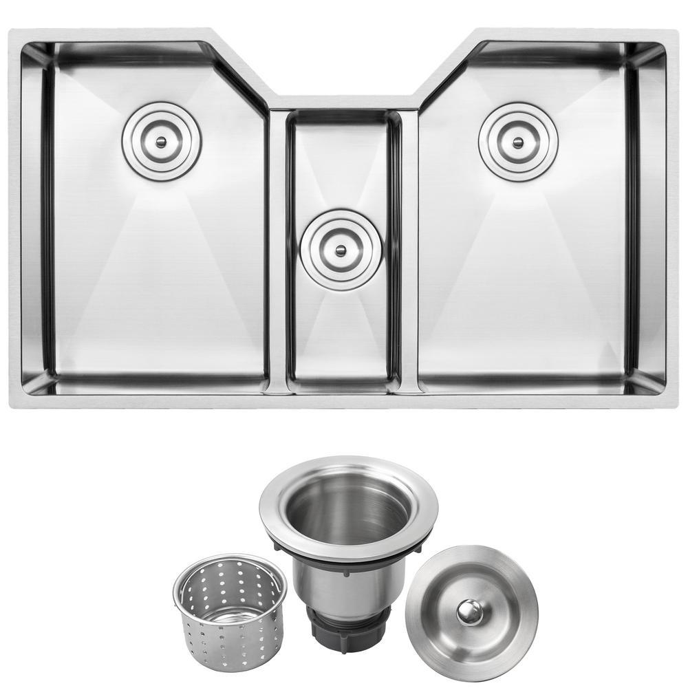 Bradford Undermount 16-Gauge Stainless Steel 35.5 in. Triple Basin Kitchen Sink with Basket Strainer