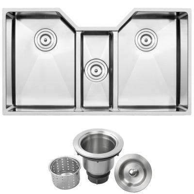 Bradford Undermount 16-Gauge Stainless Steel 35.5 in. Triple Basin Kitchen Sink with Basket Strainer